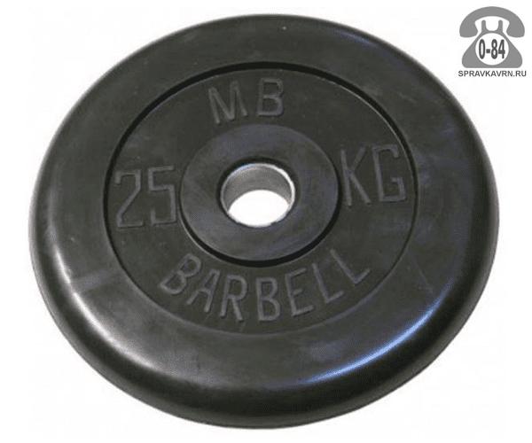 Диск для штанги Барбел обрезиненный 25 кг