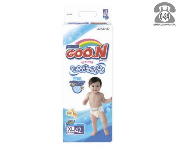 Подгузники для детей Гун (GooN) 12 кг 20 кг унисекс 42 шт. с резинкой одноразовые с барьерчиками с индикатором