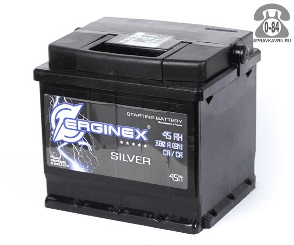 Аккумулятор для транспортного средства Эрджинекс (Erginex) 6СТ-45 прямая полярность 207*175*190 мм