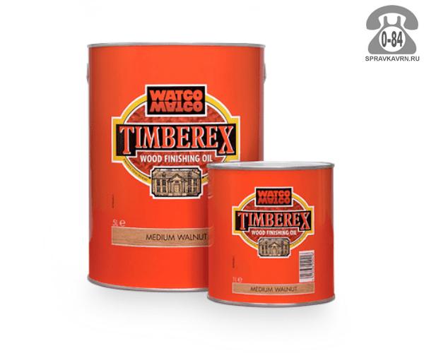 Пропитка Тимберекс (Timberex) масло для дерева защитно-красящий состав 1 л средний орех для внутренних работ Великобритания