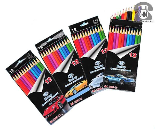 Цветные карандаши Машины цветов 12 картонная коробка