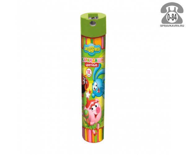 Цветные карандаши Смешарики цветов 12 металлический тубус
