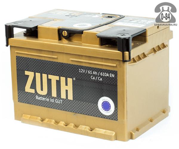 Аккумулятор для транспортного средства Зуф (Zuth) 6СТ-61 (низкий) полярность обратная, 242*175*175мм