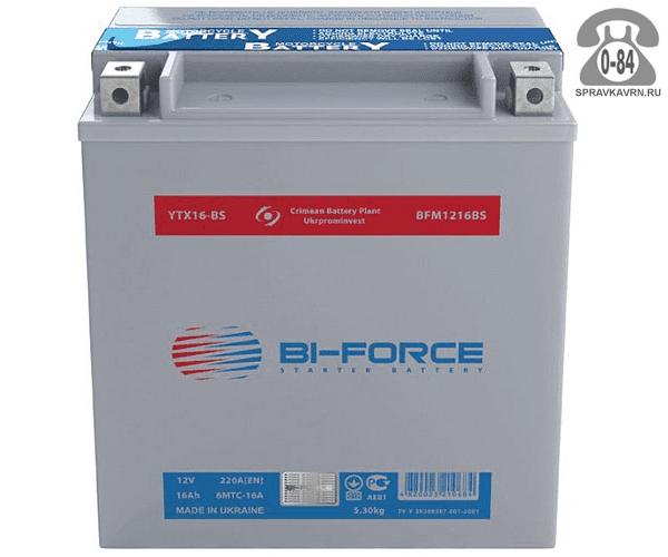 АКБ автомобильная Bi-Force BFM 16 А*час