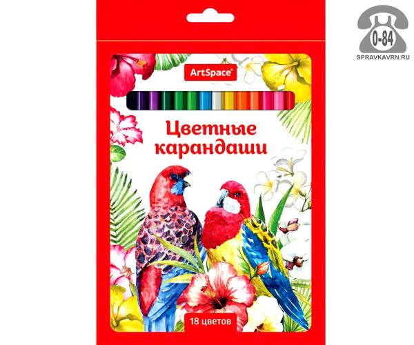 Цветные карандаши Птицы цветов 18 картонная коробка