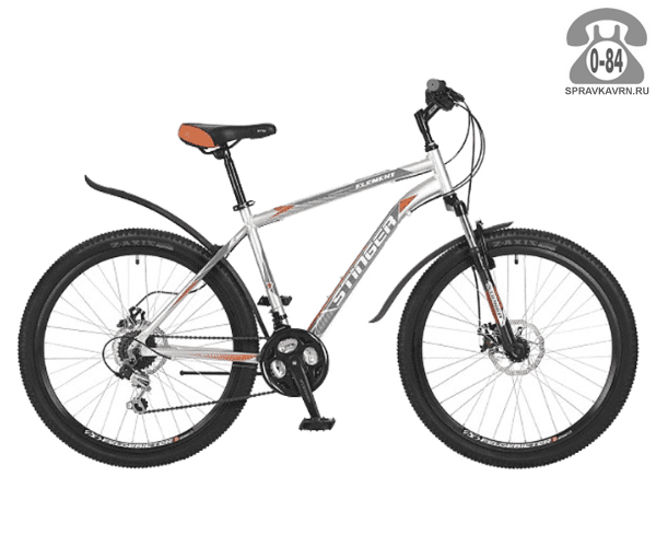 """Велосипед Стингер (Stinger) Element D 26 (2017), рама 16.5"""", серый размер рамы 16.5"""" серый"""