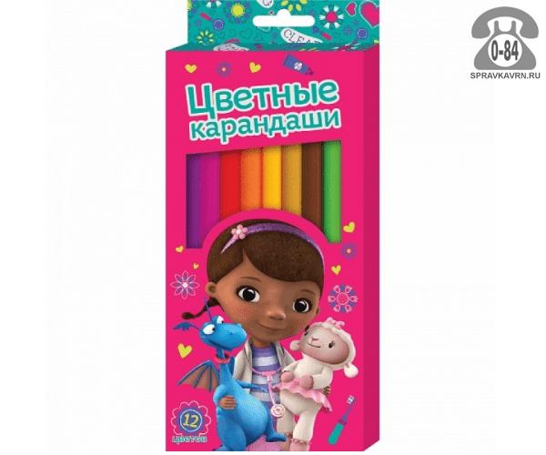 Цветные карандаши Доктор Плюшева цветов 12 картонная коробка