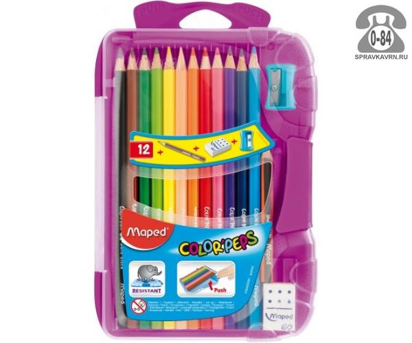Цветные карандаши Колор Пепс 12 цветов пластиковый пенал