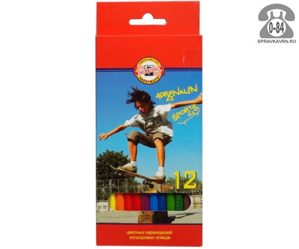 Цветные карандаши Спорт цветов 12 картонная коробка