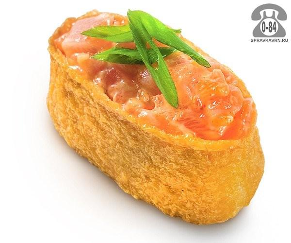 Суши Инари сякэ гункан классические с лососем 65 г на дом