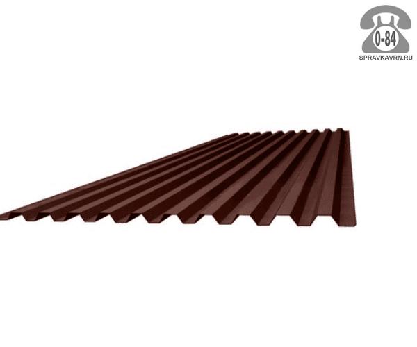 Профнастил С21 коричневый шоколад  1000x0.5 мм лакокрасочное (окрашенный)