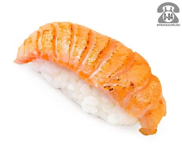 Суши Сякэ когасэ нигири классические с опалённым лососем 25 г на дом