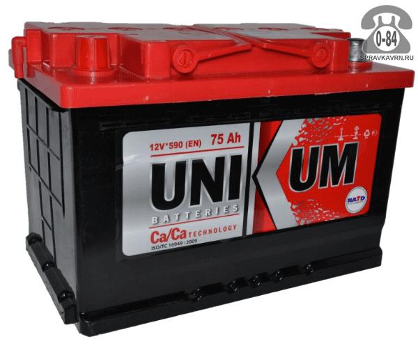 Аккумулятор для транспортного средства Уникум (Unikum) 6СТ-75 АПЗ полярность обратная, 278*175*190мм