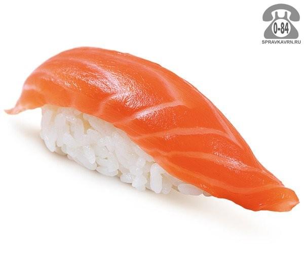 Суши Сякэ кунсэй нигири классические с копчёным лососем 25 г на дом