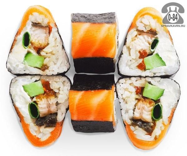 Роллы Сякэ кадо традиционные угорь красная икра лосось огурец мягкий сыр 6 шт. 160 г