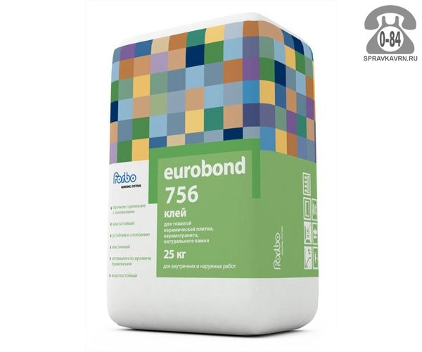 Клей монтажный для укладки плитки Евробонд 25 кг для керамогранита мешок для наружных работ (морозостойкий) Россия