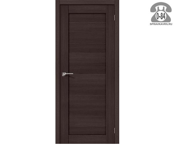 Дверь межкомнатная деревянная ЭльПорта, фабрика (el PORTA) Порта-21 цвет: Венге Вералинга (Wenge Veralinga) глухая (без стекла) 80см