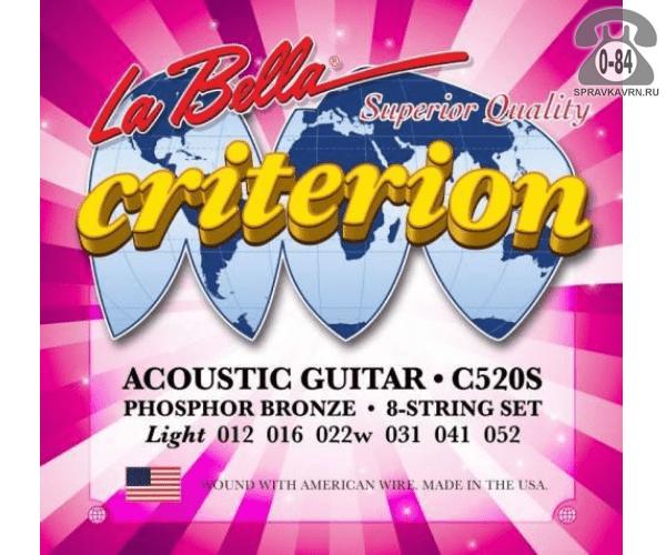 Струна для акустической гитары Ла Белла (La Bella) C520S натяжение: light (легкое), сталь