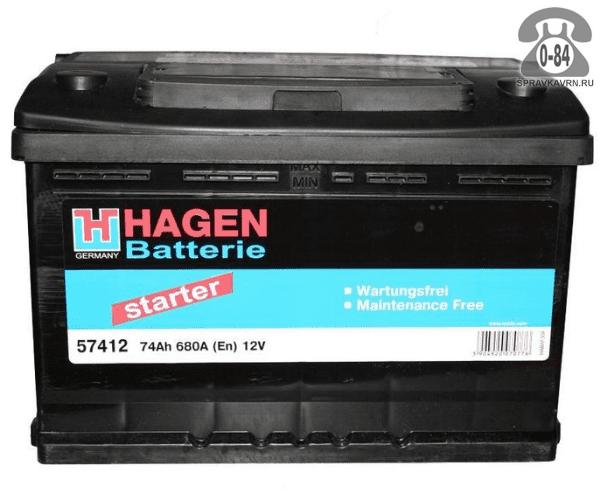 Аккумулятор для транспортного средства Хаген (Hagen) 6СТ-74 полярность обратная, 278*175*190мм