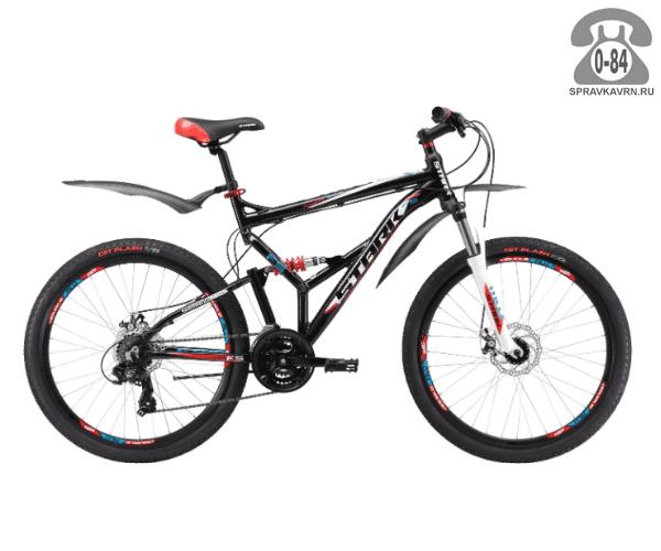 "Велосипед Старк (Stark) Jumper 26.2 FS D (2017), рама 16.5"", черный размер рамы 16.5"" черный"