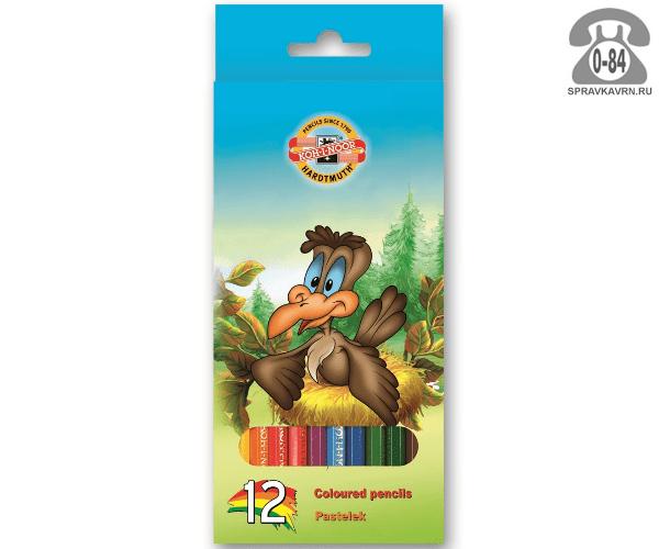 Цветные карандаши Птицы цветов 12 картонная коробка