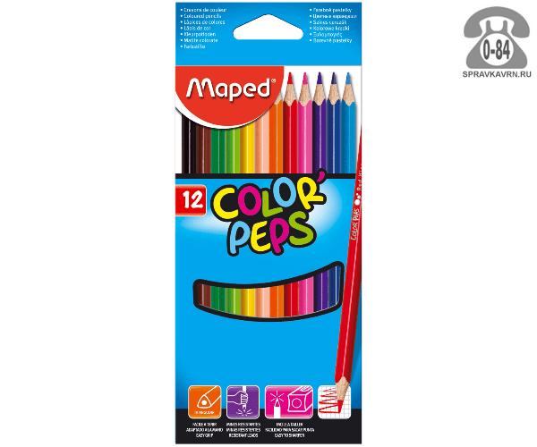 Цветные карандаши Колор Пепс 12 цветов с точилкой