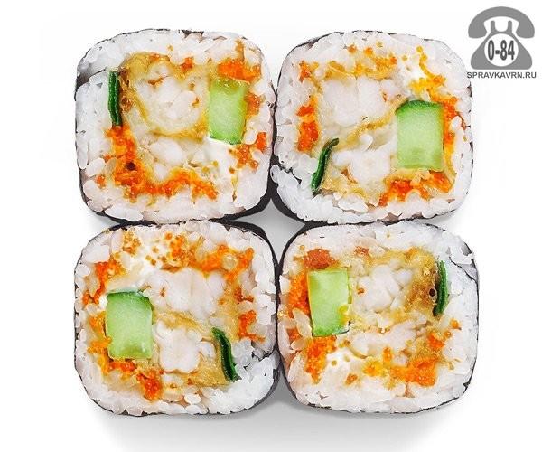 Роллы Окинава ролл тёплые креветка темпура огурец мягкий сыр тобико 4 шт. 120 г