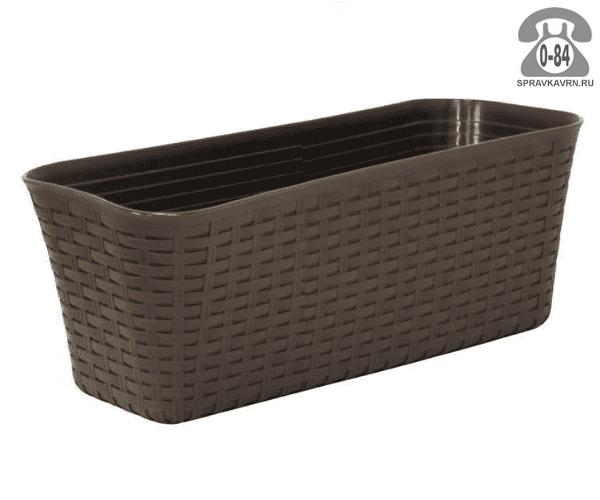 Балконный ящик Идея (Idea) Ротанг 40x18x16, коричневый