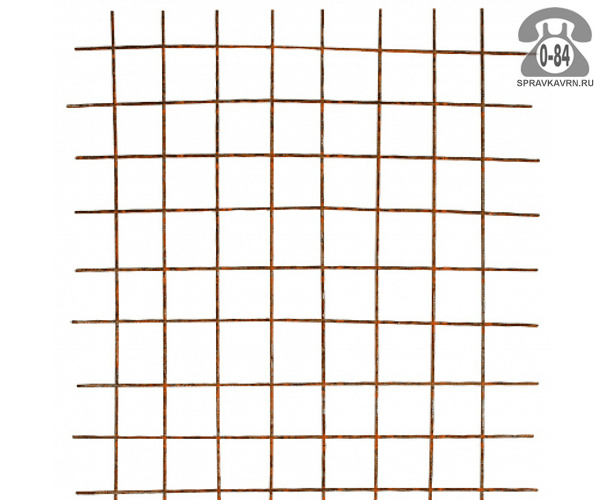 Сетка строительная сварная сталь неоцинкованная 3.6 мм 55 мм 55 мм 0.5 м 2 м
