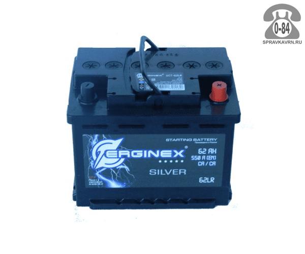 Аккумулятор для транспортного средства Эрджинекс (Erginex) 6СТ-62 обратная полярность 242*175*190 мм