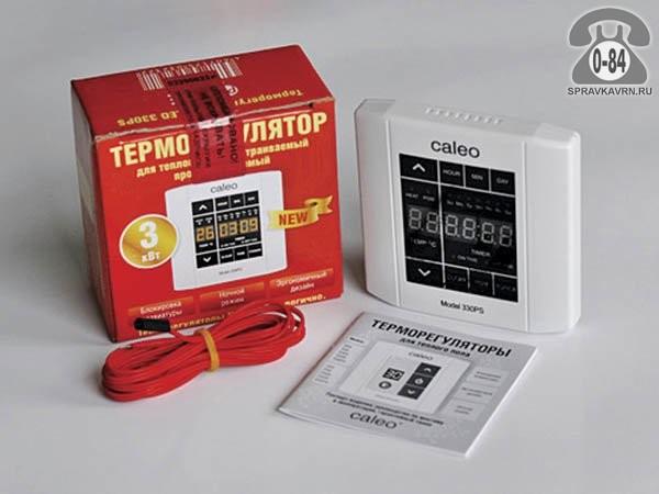 Терморегулятор для тёплого пола Калео (Caleo) 330PS программируемый сенсорный дисплей белый выносной 2 м 0-+40 Корея, республика (Южная Корея)
