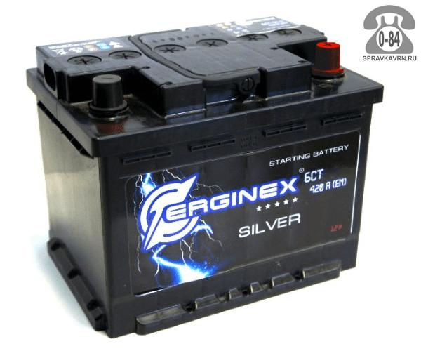 Аккумулятор для транспортного средства Эрджинекс (Erginex) 6СТ-55 полярность прямая, 242*175*190мм