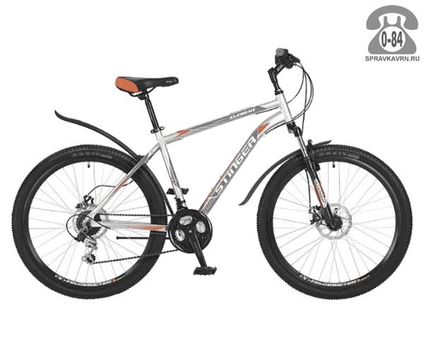"""Велосипед Стингер (Stinger) Element D 26 (2017), рама 18.5"""", серый размер рамы 18.5"""" серый"""