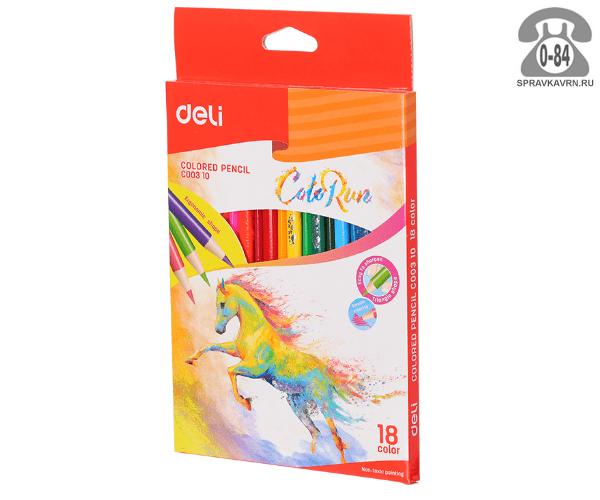 Цветные карандаши ColoRun цветов 18 картонная коробка