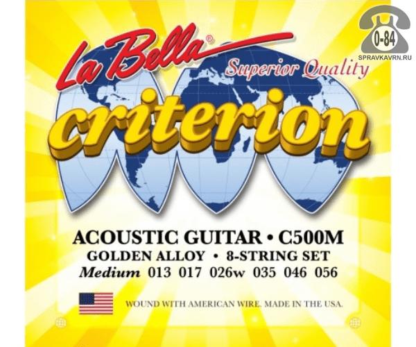 Струна для акустической гитары Ла Белла (La Bella) C500M натяжение: medium (среднее), сталь