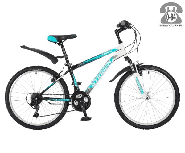 """Велосипед Стингер (Stinger) Caiman 24 (2017), рама 14.5"""", синий размер рамы 14.5"""" синий"""