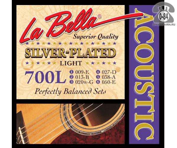 Струна для акустической гитары Ла Белла (La Bella) 700L натяжение: light (легкое), сталь