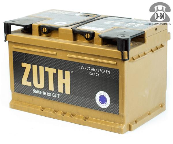 Аккумулятор для транспортного средства Зуф (Zuth) 6СТ-77 (низкий) обратная полярность 278*175*175 мм