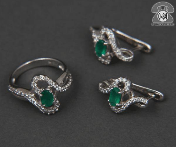 Комплект ювелирных украшений серьги + кольцо агат зелёный