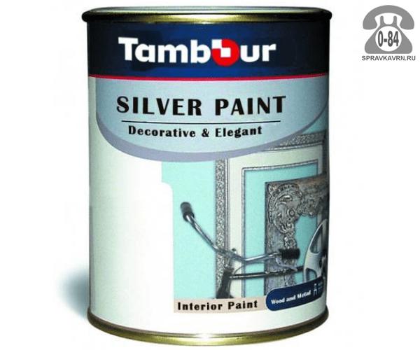 Краска декоративная Тамбур Декор серебро 0.75 л