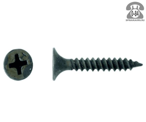 Саморез СГМ остриё (острый) 3.5x25мм по металлу и гипсокартону черный 1 шт. в упаковке