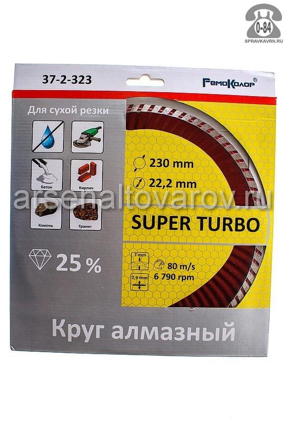 Круг отрезной РемоКолор (RemoColor) 3мм диаметр 230мм для бетон + камень + кирпич + гранит