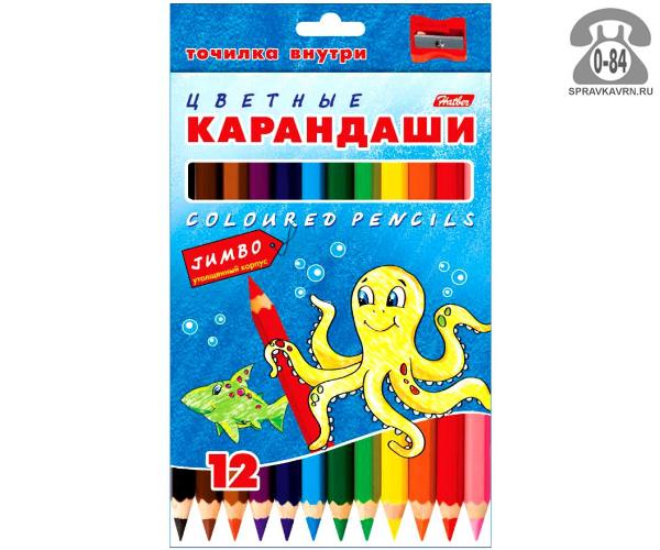 Цветные карандаши Джамбо (Jumbo) цветов 12 картонная коробка