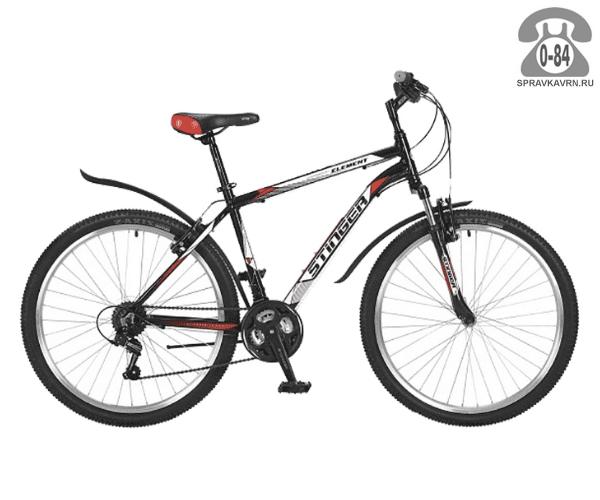 """Велосипед Стингер (Stinger) Element 26 (2017), рама 18.5"""", черный размер рамы 18.5"""" черный"""