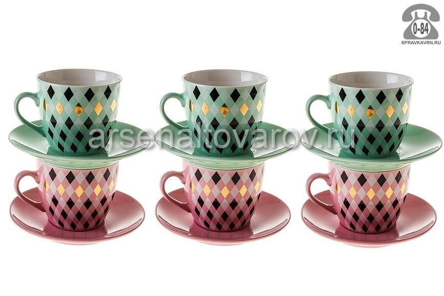 сервиз чайный фарфоровый 12 предметов 220 мл (RX-N17329) Ритм (Коралл) 961913
