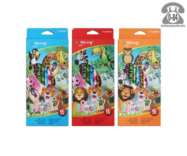 Цветные карандаши Зоопарк цветов 12 картонная коробка