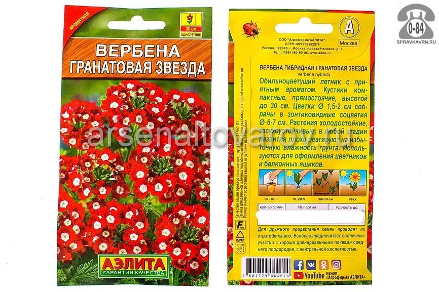 Семена цветов Аэлита вербена Гранатовая звезда однолетник 0,1 г Россия
