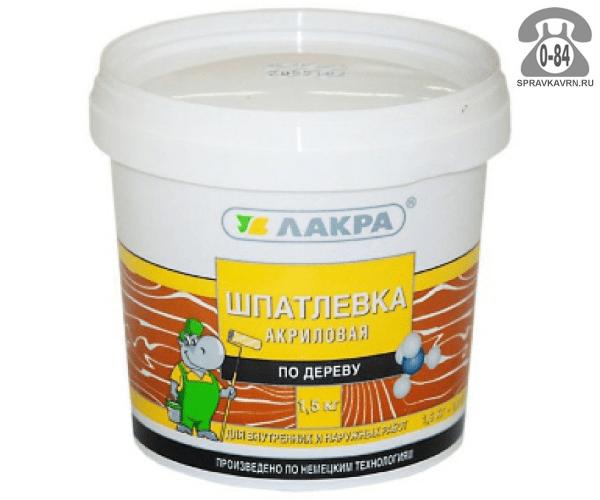 Шпаклёвка готовая Лакра акриловая для внутренних работ по дереву влагостойкая ведро 1.5 кг орех Россия