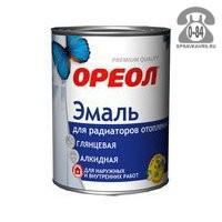 Краска Ореол Эмаль для радиаторов 1 кг глянцевая белая