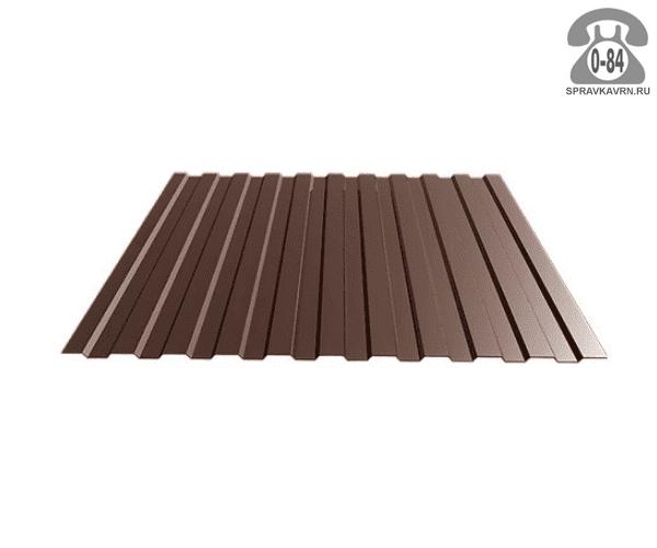 Профнастил С8 шоколадно-коричневый  1200x0.5 мм полимерное